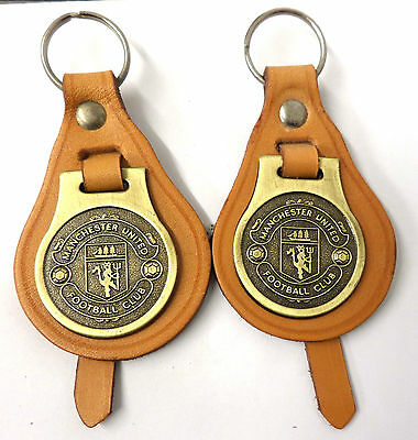 2 x Manchester United,Vintage KeyRings, On Tan Leather