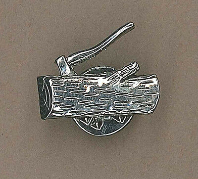 SCOUT LEADER Wood Badge Training Insignia Axe & Log Silver Colour Metal Tie Pin