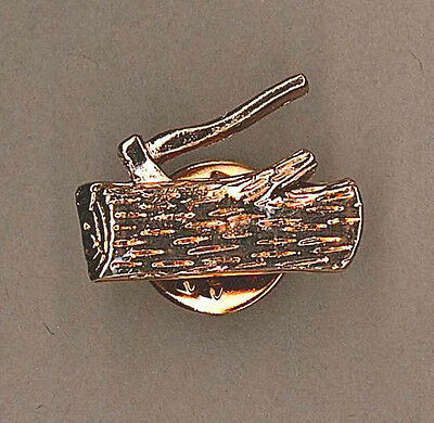 SCOUT LEADER Wood Badge Training Insignia Axe & Log BRONZE Colour Metal Tie Pin