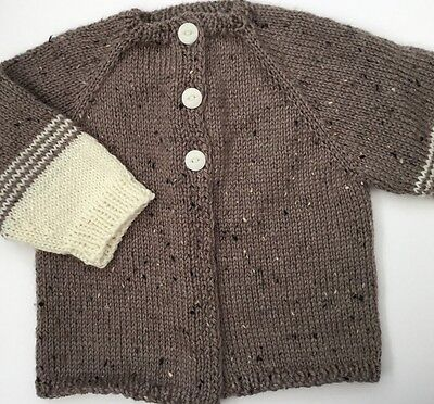 Cardigan for 6-12 Months baby, Hand Made In Alpaca Blend Yarn