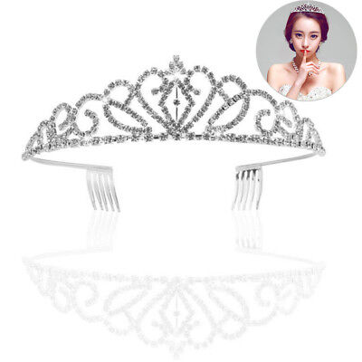 Wedding Bridal Rhinestone Tiara Crown Headband Girl Silver Prom