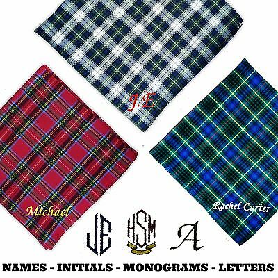 100% Cotton Embroidered Personalised Handkerchief Tartan Scottish Any Name