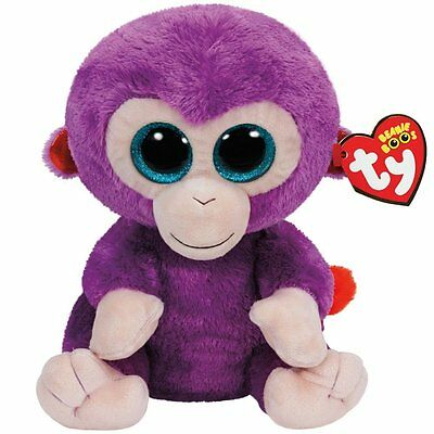 TY Beanie Boo Plush Grapes the Purple Monkey Soft Toy 15cm