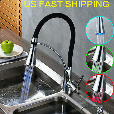 Single Handle Brushed Nickel Kitchen Faucet Pull Out Spout Deck Mounted Mixer