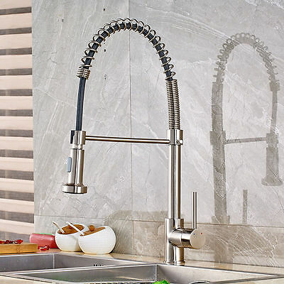 Deck Mounted Spring Kitchen Sink Faucet Brushed Nickel Single Handle Mixer Tap