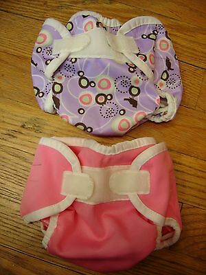 Thirsties Aplix Pink And Purple Lot of 2  XS Cloth Diaper Covers