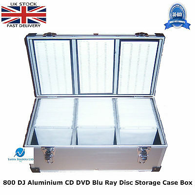 1 x Neo Media 800 Capacity DJ Aluminum SILVER CD DVD Carry Case Box Partitioned