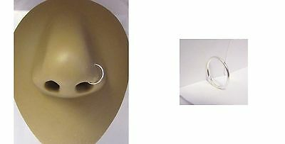 Sterling Silver No Ball Seamless Small Nose Hoop Ring Stud Thin 22 gauge 22g