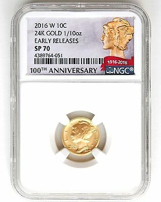 2016 W Gold Mercury Dime Ngc Sp70 - Early Release
