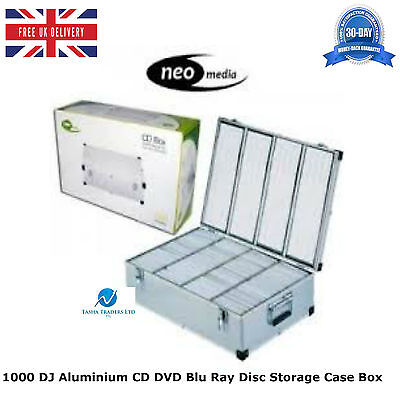 1000 DJ Aluminium CD DVD Blu Ray Disc Storage Carry Case Box Numbered Sleeves HQ