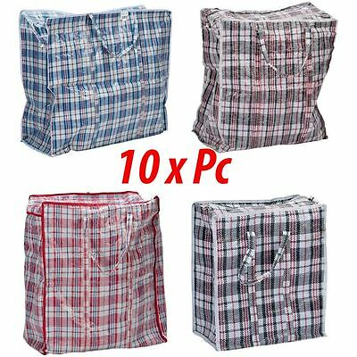 Jumbo 10 Laundry Bags Shopper Zipped Reusable Large Strong Shopping Storage Bags