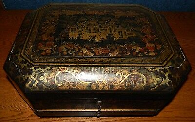 Antique 1890's Hand Painted Chinese Black/Gold Export Lacquer Sewing Box/Basket
