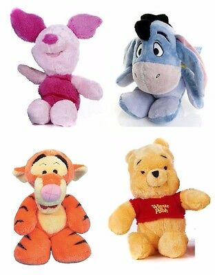"Winnie the Pooh Eeyore Tigger Piglet Cuddlies 8"" Soft Plush Suitable From Birth"
