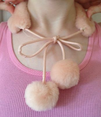Vintage Pink Faux Fur Collar - stand alone with tassel ties, 1950s Sock Hop