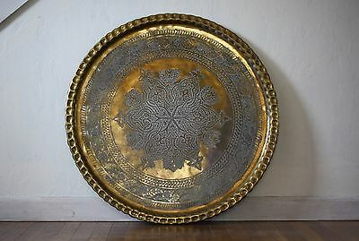 Jumbo Vintage Persian Islamic Middle Eastern Hand Chased Brass Platter 30.5""