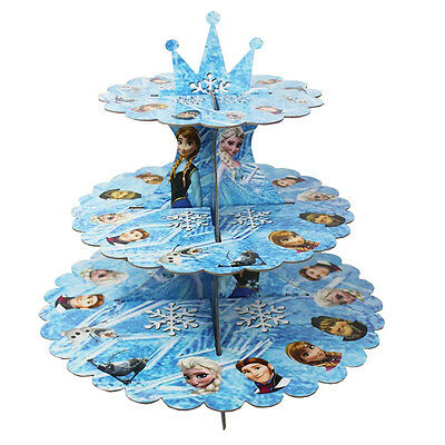 Disney Frozen Cardboard Cupcake Stand 3-Tier Round Tower - Children's Birthday