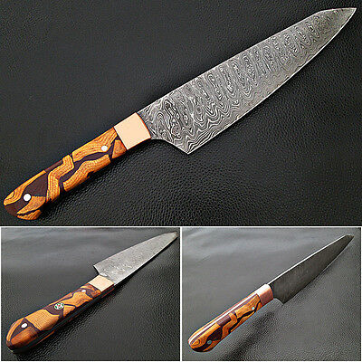 Santoku DAMASCUS Steel FORGED Chef Knife Wood Chip Resin by White Deer 55-60 HRC
