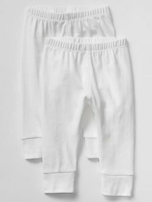 GAP Baby / Toddler Girls / Boys 18-24 Months 2-Pack White Cotton Leggings Pants
