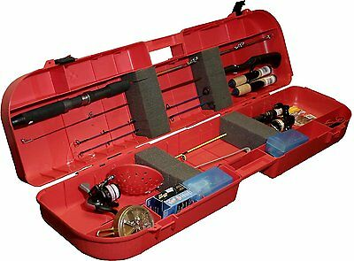 Ice Fishing Rod Box Red Outdoor Camping Tackle Reel Holds 8 Large Handle New