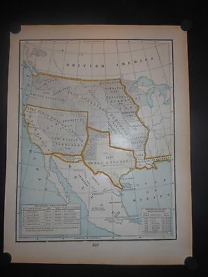 Texas Annexed 1845 Louisiana Purchase 1803 First Mexican Cession Map Hand Color