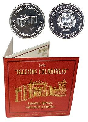 Dominican 10 Pesos,2.45g Silver Coin, 2000,KM# 95,Mint,Iglesias,Lady of Rosary
