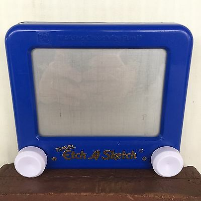 Travel Etch A Sketch Ohio Art Blue Toy Educational Creative Imagination Drawing