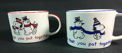 Snoopy and Snow Friends Mugs Cups Coffee Tea Snowman Peanuts Charlie Brown