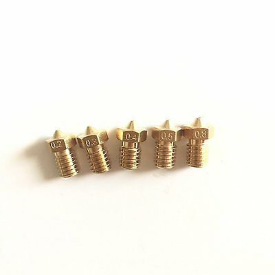 Mercurry 5PCS M6 3D Printer 0.2mm 0.3mm 0.4mm 0.5mm 0.8mm Extruder Brass Nozzle