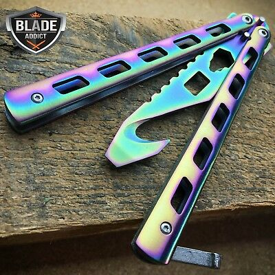 High Quality Practice RAINBOW BALISONG BUTTERFLY BOTTLE OPENER Trainer Knife