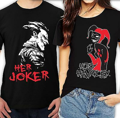 Her Joker His Harley Halloween couple matching funny cute T-Shirts all sizeS-4XL