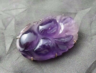 Beautiful vintage floral brooch - Solid 14k yellow gold & hand carved amethyst