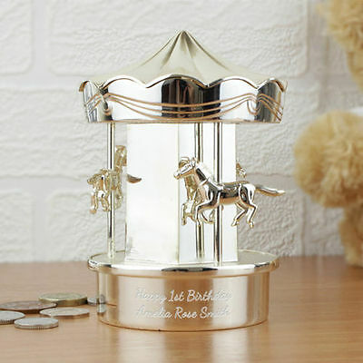 Personalised Silver Carousel Moneybox Girl Boy Baby Christening Baptism Gift