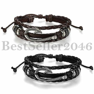 Men Women Metal Fishing Hook Black Brown Leather Surfer Cuff Bracelet Wristband