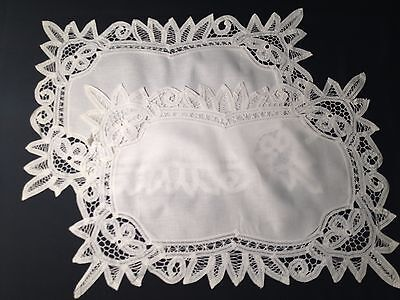 Two White Victorian Exceptional Battenberg Lace Trim Placemats Hand Made, 20""