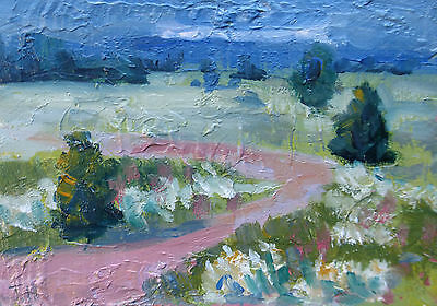 Tracy Haines landscape original oil painting green fields mountains signed art