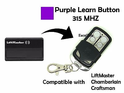Garage Remote Control Liftmaster Transmitter Purple Learn 139.18191 315Mhz