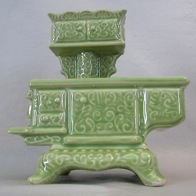 Vintage Ceramic Wood Burning STOVE Figurine PLANTER in Green w 3 Plant Openings