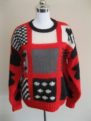 Handmade Colour Block Chunky Knit Wool Jumper 10 12