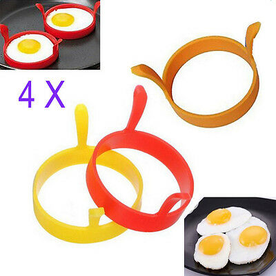 4X Silicone Egg Frying Rings Fry Fried Poacher Mould Perfect For Pancakes Ring
