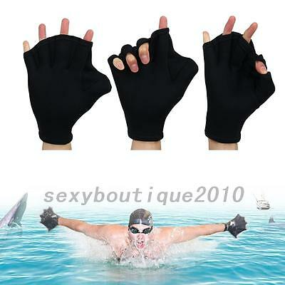 HOT 1 Pair Swimming Gloves Hand Webbed Finger Fins Paddle Palm Water Sports