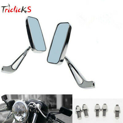 CHROME SIDE REAR VIEW MIRRORS RECTANGLE MOTORCYCLE 8/10MM FOR HARLEY Choppers