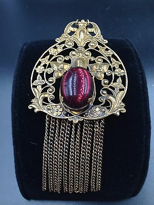 Antique Victorian Art Nouveau Purple Glass Huge Cabochon Brass Setting Necklace!