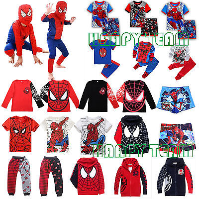 Kids Boys Spiderman T-Shirt Top Hoodie Coat Shorts Pants Toddler Outfit 2pcs Set