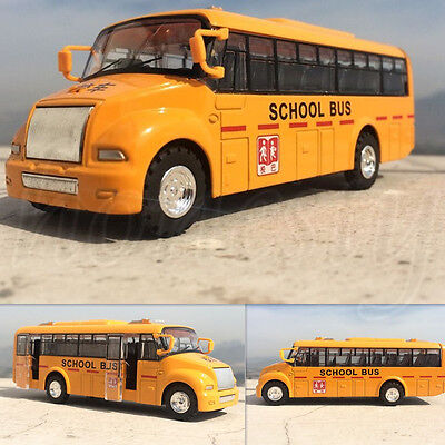 1:43 Scale School Bus Alloy Models Children's Gift Toy Yellow Pullback Toy New