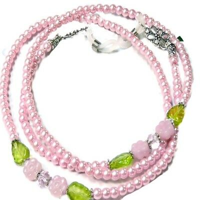 Pink on Pink - Reading eye glasses, spectacle chain holder lanyard necklace