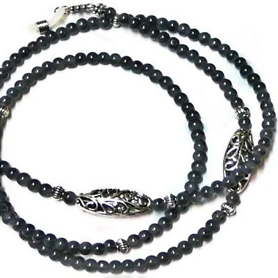 Reading eye glasses spectacle chain lanyard - Dark Grey and silver lace