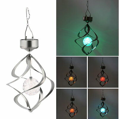 Solar Powered LED Wind Chime Wind Spinner Windchime Outdoor Garden Courtyard #L