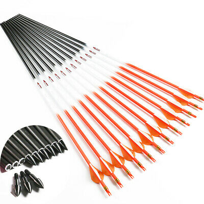 "12pcs Archery Carbon arrows fluorescen orange 2"" Vanes id6.2mm bohing nocks new"