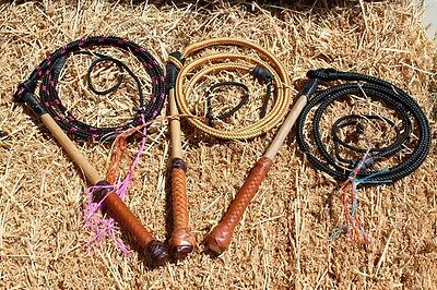 4'6 Yard All Weather Australian Stock Whip with Leather Decorated Handle