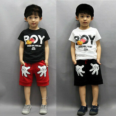 Mickey Mouse Kids Toddler Boy Costume Outfits T-shirt Tops+Shorts 2pcs Set 2-7Y